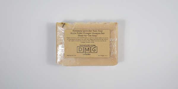 Rosemary Lavender Duel Clay Apple Cider Vinegar Shampoo Bar (Head-to-Toe Soap)